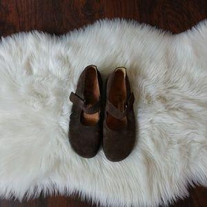 Birkenstocks suede dark brown flats size 40